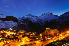 French Alps. Ski resort in French Alps at night Stock Photos