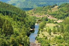 French Alps. River at the Bottom of Canyon in the French Alps Royalty Free Stock Image