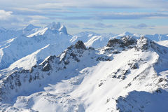 The French alps. Beautiful view over the French alps stock photos