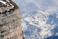 The french alps. View from the chartreuse across to belledonne in the french alps royalty free stock photography
