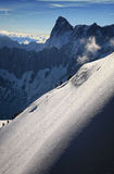 Ski Slope in the French Alp. Going down from the Mont Blanc, in French Alps, absolutely wonderful landscape there stock photo