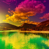 French Alps. Lake in the French Alps, Sunset, Instagram Effect Royalty Free Stock Photo
