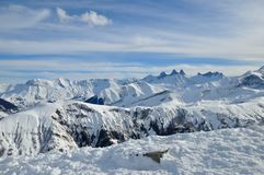 French Alps. Les Sybelles Ski resort, France Stock Photo