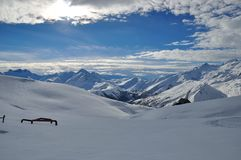 French Alps. Les Sybelles Ski resort, France Royalty Free Stock Photo