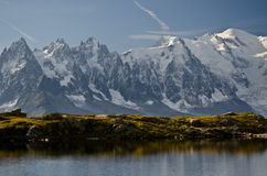 French Alps - Mont Blanc. Views of a blue lake and the Mont-Blanc in the background , Chamonix, French Alps Stock Photography
