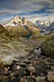French Alps - Mont Blanc. Views of Mont-Blanc with dramatic grey sky , Chamonix, French Alps Stock Image