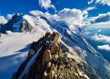 French Alps, Mont Blanc And Glaciers As Seen From Aiguille Du Midi, Chamonix, France Stock Images