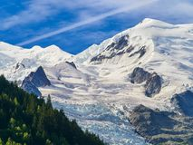 French Alps, Mont Blanc and glaciers as seen from Aiguille du Midi, Chamonix, France. French Alps, Mont Blanc and glaciers as seen from Aiguille du Midi Stock Images