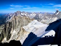 French Alps, Mont Blanc and glaciers as seen from Aiguille du Midi, Chamonix, France. French Alps, Mont Blanc and glaciers as seen from Aiguille du Midi Royalty Free Stock Photography
