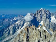 French Alps, Mont Blanc and glaciers as seen from Aiguille du Midi, Chamonix, France. French Alps, Mont Blanc and glaciers as seen from Aiguille du Midi Stock Photos
