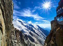 French Alps, Mont Blanc and glaciers as seen from Aiguille du Midi, Chamonix, France. French Alps, Mont Blanc and glaciers as seen from Aiguille du Midi Stock Image