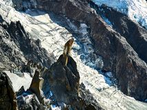 French Alps, Mont Blanc and glaciers as seen from Aiguille du Midi, Chamonix, France. French Alps, Mont Blanc and glaciers as seen from Aiguille du Midi Royalty Free Stock Photo
