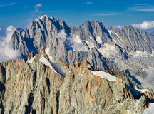 French Alps, Mont Blanc and glaciers as seen from Aiguille du Midi, Chamonix, France. French Alps, Mont Blanc and glaciers as seen from Aiguille du Midi Royalty Free Stock Photos