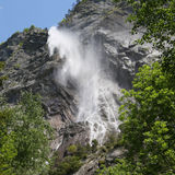 French Alps Mountain Waterfall. La Cascade d'Arpenaz. The spectacular waterfall in the French alps, near Mont Blanc Stock Photo