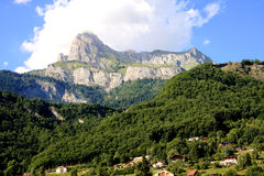 French Alps. The Alps are one of the great mountain range systems of Europe stretching approximately 1,200 kilometres (750 mi) across eight Alpine countries Royalty Free Stock Photography