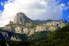 French Alps. The Alps are one of the great mountain range systems of Europe stretching approximately 1,200 kilometres (750 mi) across eight Alpine countries Royalty Free Stock Image