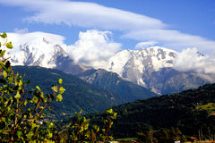 French Alps. The Alps are one of the great mountain range systems of Europe stretching approximately 1,200 kilometres (750 mi) across eight Alpine countries Royalty Free Stock Images