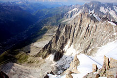 French Alps. The Alps are one of the great mountain range systems of Europe stretching approximately 1,200 kilometres (750 mi) across eight Alpine countries Stock Photo