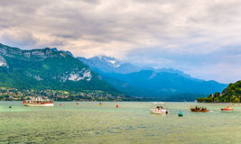 French Alps over Lake Annecy Royalty Free Stock Photos