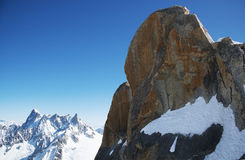 French alps panorama from Aiguille du midi station Royalty Free Stock Photo