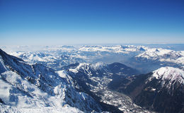 French alps panorama from Aiguille du midi station Stock Images