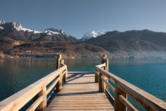 French Alps Pier Lake H Stock Image