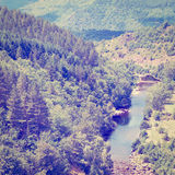 French Alps. River at the Bottom of Canyon in the French Alps, Retro Effect Royalty Free Stock Photo