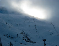French Alps ski lifts Royalty Free Stock Photos