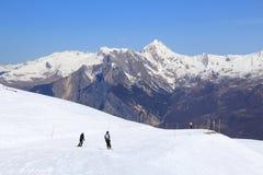 French Alps skiing. In winter snow - Valloire ski resort in Europe Stock Image