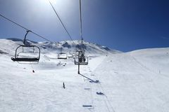 French Alps skiing. In winter snow - Valloire ski resort in Europe Royalty Free Stock Photo