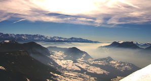 French alps with snow in winter day Royalty Free Stock Images