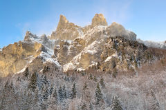 French alps snowy rocky mountain Royalty Free Stock Photography