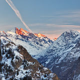 French Alps at sunset Stock Images