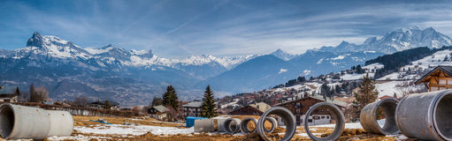 French Alps and Tubular Pipes Royalty Free Stock Photo