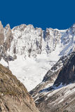 French Alps Valley under Mt. Blanc with Mer de Glace - Sea of Ice Glacier. View to French Alps Valley under Mt. Blanc with Mer de Glace - Sea of Ice Glacier Stock Photos