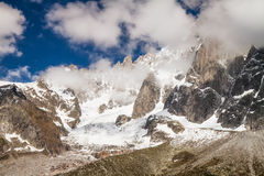 French Alps Valley under Mt. Blanc with Mer de Glace - Sea of Ice Glacier Stock Images