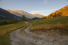 French Alps, Vanoise mountains at sunrise Royalty Free Stock Image