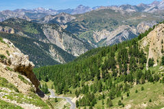 French Alps. View over the mountains of the French Alps in the summer at the Pass Col d`Izoard royalty free stock images