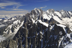 French Alps viewed from Aiguille du Midi, france Stock Images