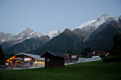 French Alps village at dusk Royalty Free Stock Images