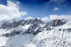 French Alps winter. Snow - ragged peaks with snow. Valloire area Stock Images