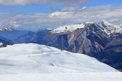 French Alps winter. Skiing area in Valloire (Galibier-Thabor ski resort Royalty Free Stock Photo