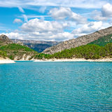 French Alps. Wooded Shore of the Lake in French Alps Royalty Free Stock Images