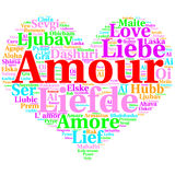 French: Amour. Heart shaped word cloud Love, on white Royalty Free Stock Images