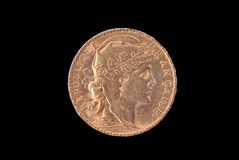 French ancient gold coin. 20 francs. Obverse stock photo