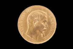 French ancient gold coin. 50 francs. Obverse Royalty Free Stock Image