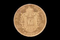 French ancient gold coin. 50 francs. Reverse Royalty Free Stock Photo
