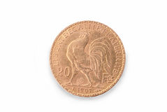 French ancient gold coin. 20 francs. 1907. Reverse Stock Images