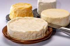 French AOC soft cow cheeses, crumbly Langres with washed rind st. Ructure, sharp Pie Angloys, camembert with strong taste and brie served as dessert after dinner stock photos
