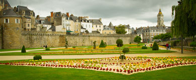French Architecture. Beautiful medieval architecture in Vannes, Brittany, France, as well as beautiful gardens Stock Images